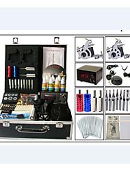 Недорогие -стартовые комплекты татуировки 2 х Металлическая тату-машинка для контура и заливки LCD питания 10 x Тату иглы RL 3 10 x Тату иглы RL 5