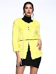 Cappotto di pelliccia Da donna Casual Inverno Semplice,Tinta unita Pelliccia di coniglio Verde / Giallo Maniche a ¾ Spesso
