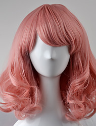 cheap -Synthetic Wig Straight With Bangs Middle Part Pink Women's Capless Carnival Wig Halloween Wig Natural Wigs Short Synthetic Hair