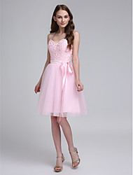 cheap -A-Line Spaghetti Strap Knee Length Tulle Bridesmaid Dress with Beading / Appliques / Sash / Ribbon by LAN TING BRIDE®