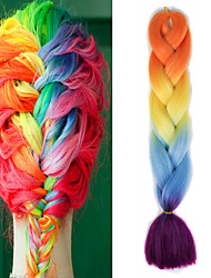 "cheap -Orange Yellow Light Blue Purple Ombre Crochet 24"" Yaki Kanekalon 100g 4 Tone Jumbo Braids Synthetic Hair"