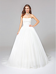 cheap -Ball Gown Strapless Chapel Train Tulle Wedding Dress with Appliques by LAN TING BRIDE®