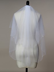 abordables -Deux couches Bord orné de perles Voiles de Mariée Voiles Blush Voiles longueur coude Avec Tulle