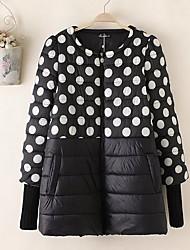 Пальто Простое Короткая На подкладке Для женщин,Горошек На каждый день Хлопок Полипропилен,Длинный рукав Круглый вырез