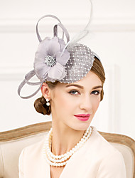 cheap -Flax Rhinestone Feather Net Fascinators Hats Headpiece Elegant Style