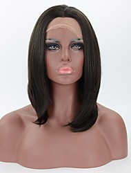 cheap -Medium Length Synthetic Lace Front Wigs Heat Friendly Natural Looking Straight Black Wig