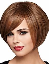 economico -Donna Parrucche sintetiche Senza tappo Riccio Castano dorato Taglio medio corto Con frangia Parrucca naturale costumi parrucche