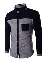 cheap -Men's Plus Size Cotton Slim Shirt - Color Block Classic Collar / Long Sleeve