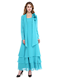 cheap -A-Line Scoop Neck Ankle Length Chiffon Mother of the Bride Dress with Beading / Tassel / Flower by LAN TING BRIDE®