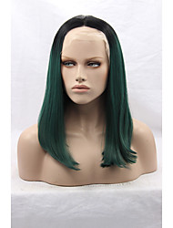 Layered Synthetic Lace Front Black Mixed Green Wig Heat Resistant Natural Medium Cheap Green Wig High Quality