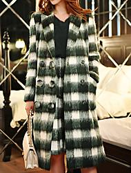 DABUWAWA Women's Fall Winter Coat Shirt Collar Long Sleeve Wool Acrylic Polyester Patchwork