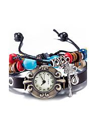 cheap -Women's Fashion Watch Wrist watch Bracelet Watch Quartz Water Resistant / Water Proof Leather Band Vintage Bohemian Bangle Black
