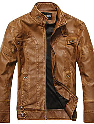 Men's Daily Simple Casual Leather Jacket,Solid Long Sleeve Regular PU Classic