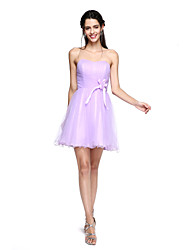 A-Line Strapless Short / Mini Tulle Bridesmaid Dress with Flower(s) Criss Cross by LAN TING BRIDE®