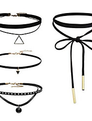 Women's Choker Necklaces Tattoo Choker Jewelry Fabric Alloy Basic Unique Design Tattoo Style Dangling Style Tag Crossover Cute Style