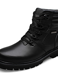 Men's Boots Winter Comfort PU Casual Flat Heel Lace-up Black