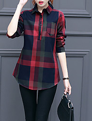 cheap -Women's Daily Casual Winter Fall Shirt,Print Shirt Collar Long Sleeves Cotton Thick