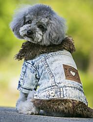 abordables -Chien Manteaux Vestes en Jean Vêtements pour Chien Jeans Noir Bleu Polaire Toile de jean Costume Pour les animaux domestiques cow-boy