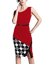 abordables -Femme Asymétrique Trapèze Robe Sortie/Travail Vintage/simple/Chic de Rue,Couleur Pleine Asymétrique Mi-long Sans ManchesBleu/Rouge/Noir/
