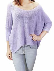preiswerte -Damen Standard Pullover-Lässig/Alltäglich Sexy Solide Blau Weiß Beige Schwarz Lila Rundhalsausschnitt ¾-Arm Baumwolle Herbst Winter Mittel