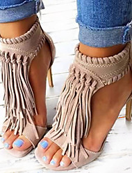 Women's Shoes Leatherette Spring Summer Fall Sandals Stiletto Heel Peep Toe Tassel For Casual Party & Evening Black Almond