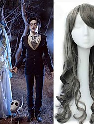 cheap -75cm grey color synthetic wigs big cap film corpse bride custume cosplay wigs new arrival wavy anime cheap heat resistnt wigs Halloween