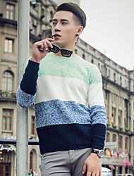 cheap -Men's Going out Vintage Patchwork Round Neck Pullover, Long Sleeves All Seasons Cotton
