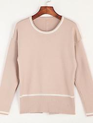 economico -Standard Pullover Da donna-Per uscire Casual Semplice Romantico Tinta unita Bianco Nero Grigio Rotonda Manica lunga CotonePrimavera