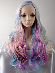 Women Synthetic Wigs Unicorn Look Rainbow Long Natural Wave Pink Highlighted/Balayage Hair Side Part Natural Wigs Costume Wigs