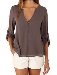 cheap -Women's Cotton Blouse - Solid Colored V Neck