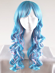 abordables -Pelucas sintéticas Ondulado Natural Pelo sintético Azul Peluca Mujer Larga / Muy largo Sin Tapa