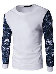 Herre Plusstørrelser Aktiv Rund hals Sweatshirt - Farveblok, Trykt mønster