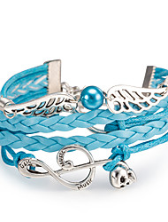 cheap -Women's Wrap Bracelet Alloy Music Notes Wings / Feather Jewelry Daily Office & Career Street Costume Jewelry Light Blue