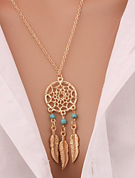 cheap -Women's Leaf Turquoise Gold Plated Turquoise Pendant Necklace - Tassel Vintage Bohemian Euramerican Fashion Leaf Feather Wings / Feather