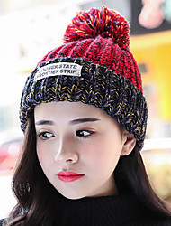 cheap -Woman Winter Protection Ear English Lettering Label Thickening Stitching Color Knit Wool Hat