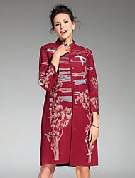 Damen Stickerei Chinoiserie Lässig/Alltäglich / Übergröße Mantel,Winter Ständer ¾-Arm Rot / Grau / Orange Polyester