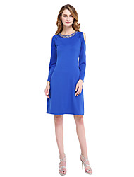 Sheath / Column Jewel Neck Knee Length Jersey Mother of the Bride Dress with Beading by LAN TING BRIDE®
