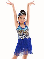 cheap -Belly Dance Leotards Children's Performance Polyester Sequins Tassel(s) 1 Piece Sleeveless Natural Leotard