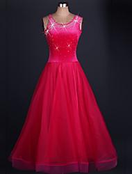 Danse de Salon Robes Femme Spectacle Organza Velours Fantaisie 1 Pièce Sans manche Taille moyenne Robe