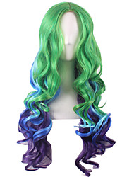 Long Medium Side Bang Synthetic Wig for Women Green Blue Purple Costume Hair Cosplay Wigs Heat Resistant