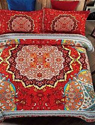 Bedtoppings 4pcs Set Queen 1 Comforter Duvet Quilt Cover/1 Flat Sheet/1 Pillowcase Fixed Design Poly Bohemian Style