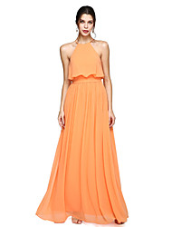 cheap -A-Line Halter Floor Length Chiffon Bridesmaid Dress with Bow(s) Sash / Ribbon by LAN TING BRIDE®