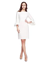 abordables -Fourreau / Colonne Bijoux Mi-long stretch en mousseline de soie Soirée Cocktail Promo Robe avec Plissé par TS Couture®