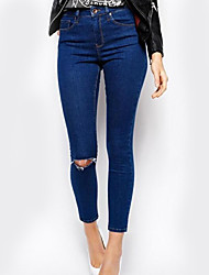 Women's Loose / Skinny Chinos Pants,Casual/Daily Simple / Street chic Solid High Rise Elasticity Polyester Stretchy Fall / Winter