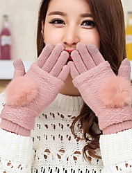 cheap -Women's Mittens Rabbit Fur Lamb Fur Fingertips Wrist Length Cute Winter Gloves