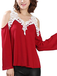Women's Off The Shoulder Patchwork Lace Strap Off-The-Shoulder All Match Loose Casual V Neck Long Sleeve Plus Size T-shirt