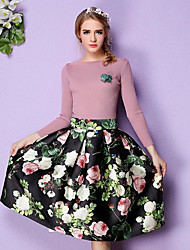 cheap -Women's Going out Mini Skirts,Chinoiserie A Line Pleated Solid Print All Seasons