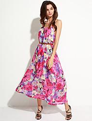 Women's Boho Bohemia Chiffon Loose Beach Maxi Dress
