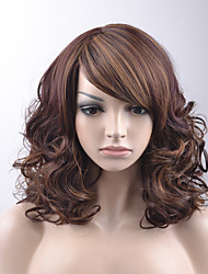 cheap -Synthetic Wig Loose Wave Bob Haircut With Bangs Side Part Highlighted/Balayage Hair Brown Women's Capless Carnival Wig Halloween Wig
