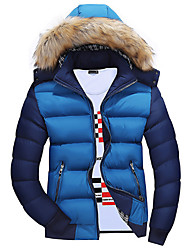 Men's Regular Padded Coat,Casual Plus Size Solid-Polyester Polyester Long Sleeves Hooded